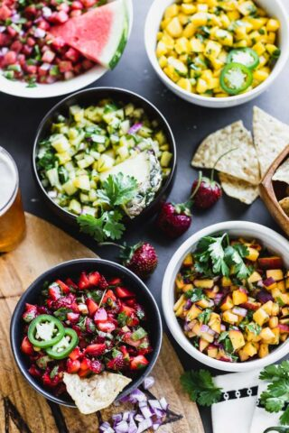 Fruit Salsas in bowls from overhead
