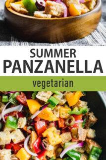 vegetable panzanella salad text overlay