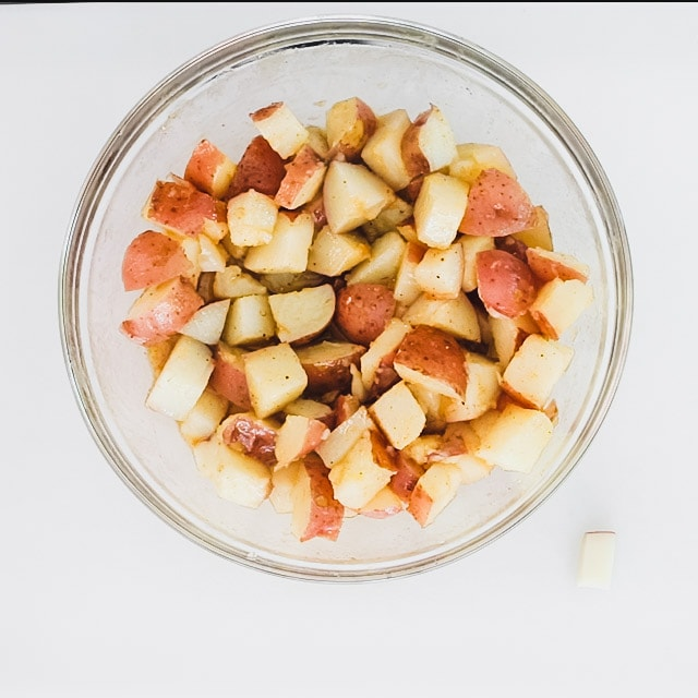 Let the potatoes absorb the dressing for 10 minutes