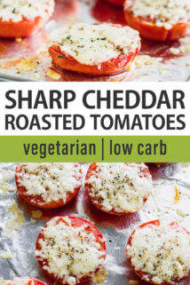 cheddar cheese roasted tomatoes text overlay