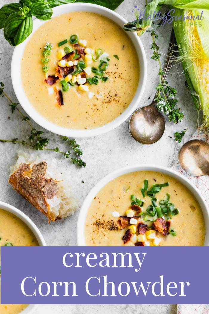 Corn chowder in two bowls with text overlay