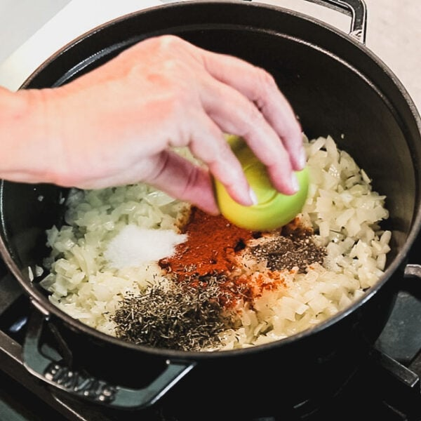 Add the spices, cook, stirring, until they are fragrant.