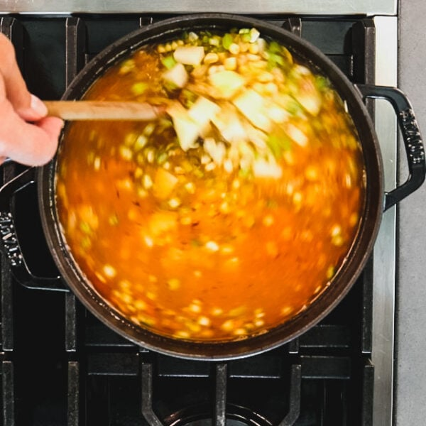 Add the broth, potatoes, corn and celery and bring to a simmer. Simmer until the potatoes are tender