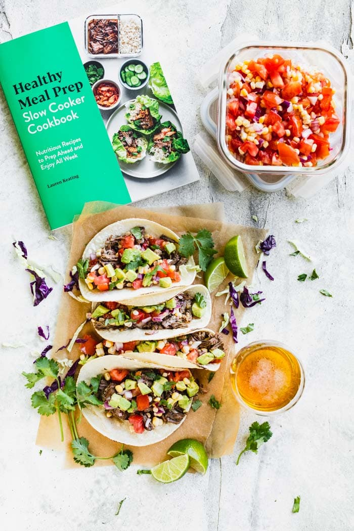 Cookbook, meal prepped salsa and tacos