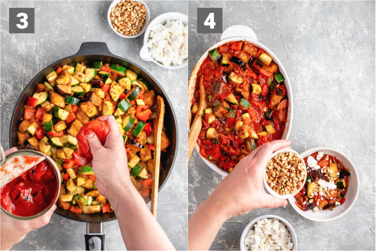 crush the tomatoes in and the finish with herbs and optional toppings