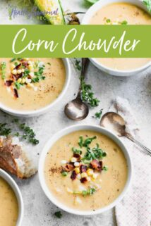 Corn chowder in three bowls with text on top