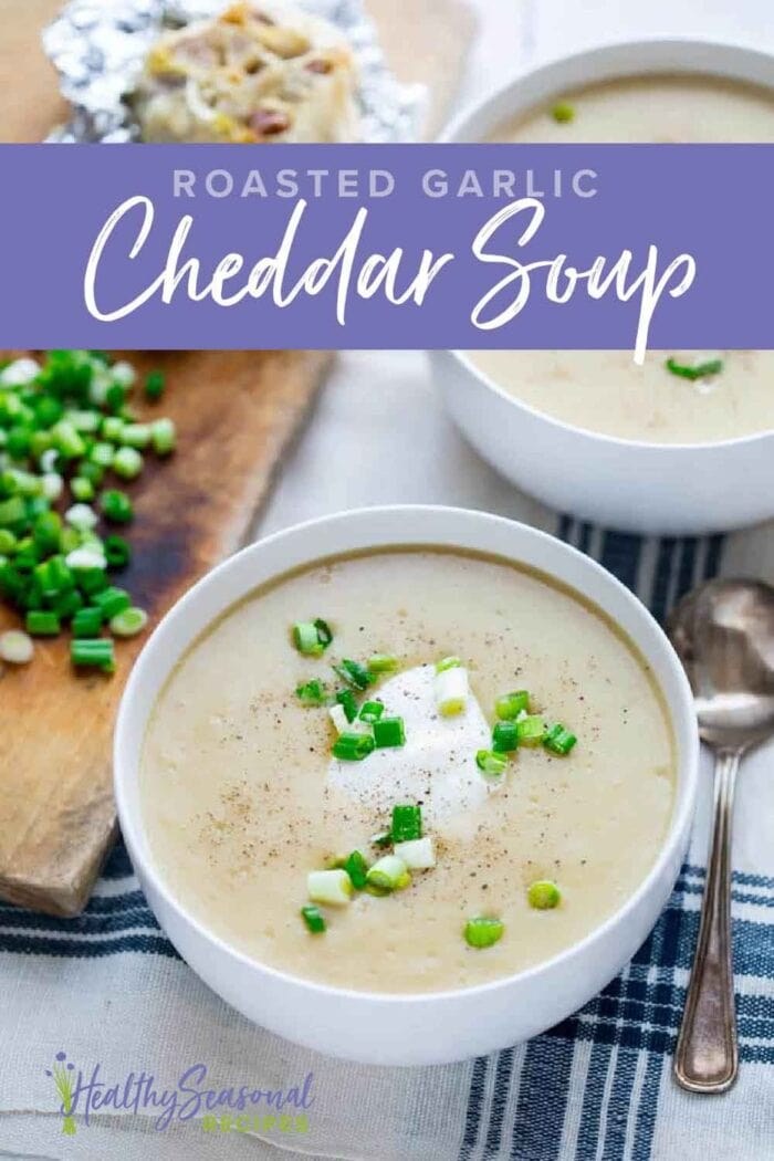 cheddar potato soup in a white bowl