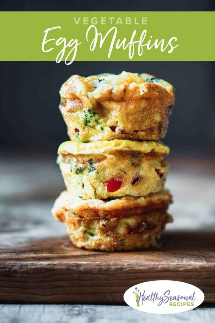 a stack of egg muffins with text