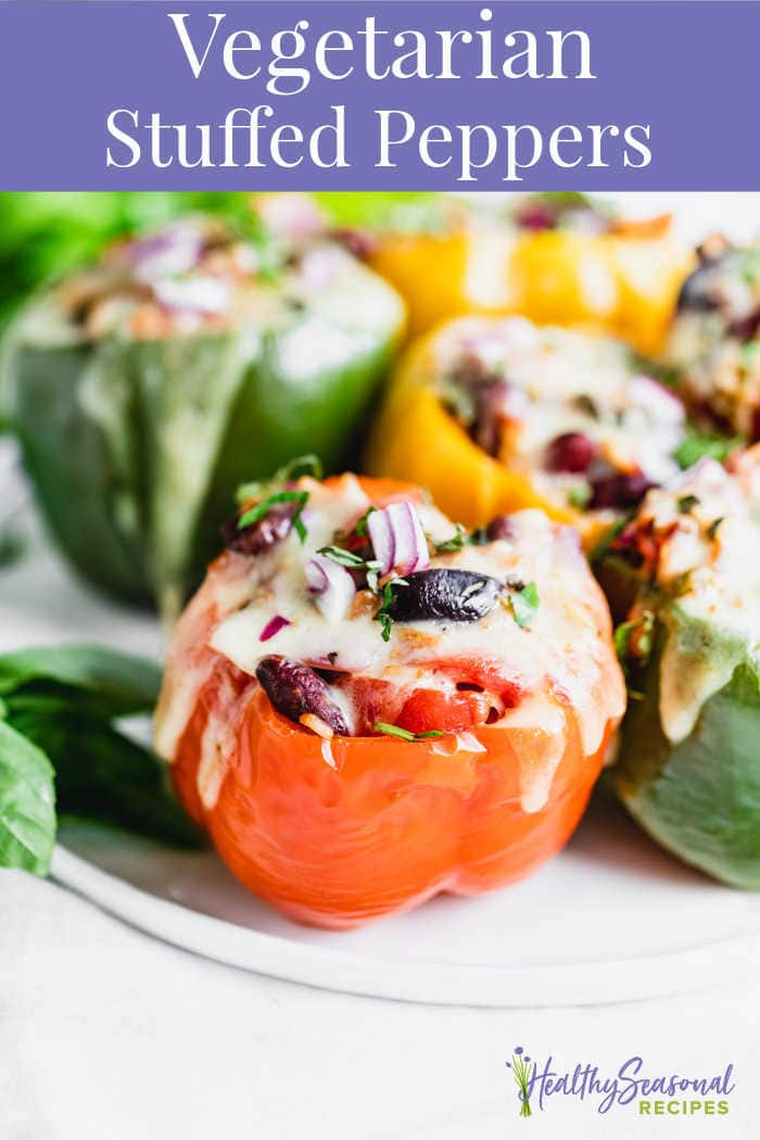 Vegetarian Stuffed Peppers with text