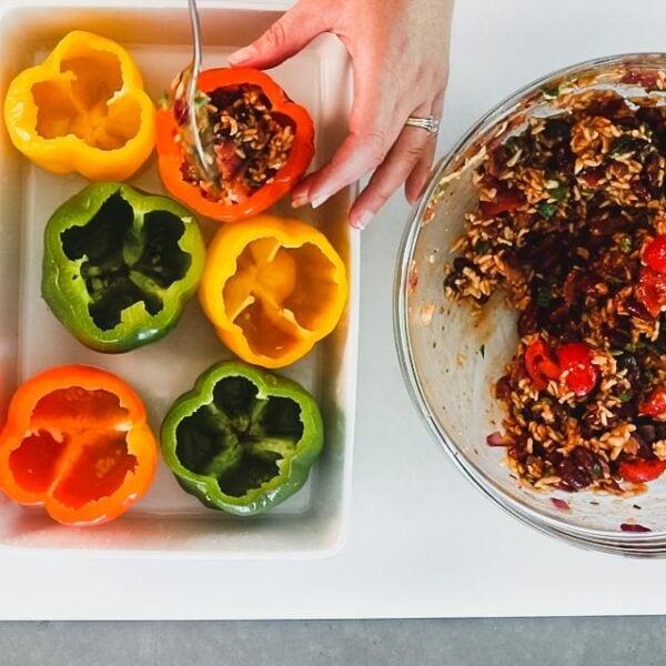 Divide the filling among each pepper.