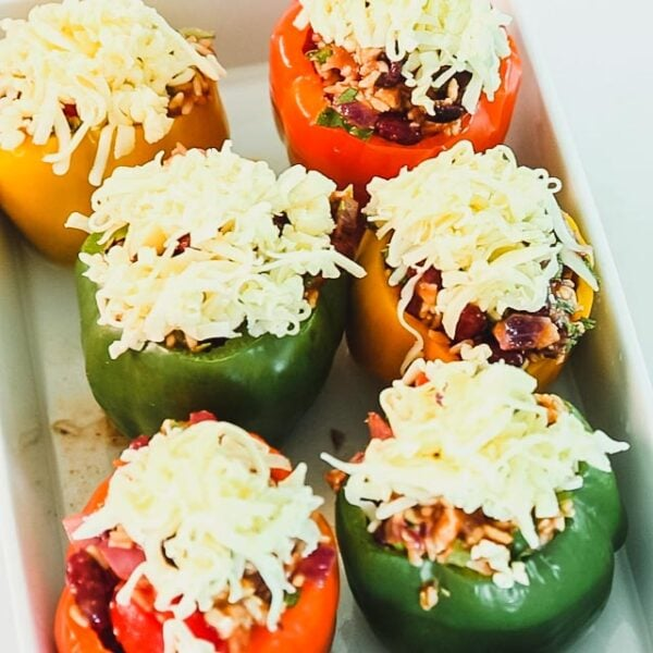 stuffed peppers topped with unmelted cheese