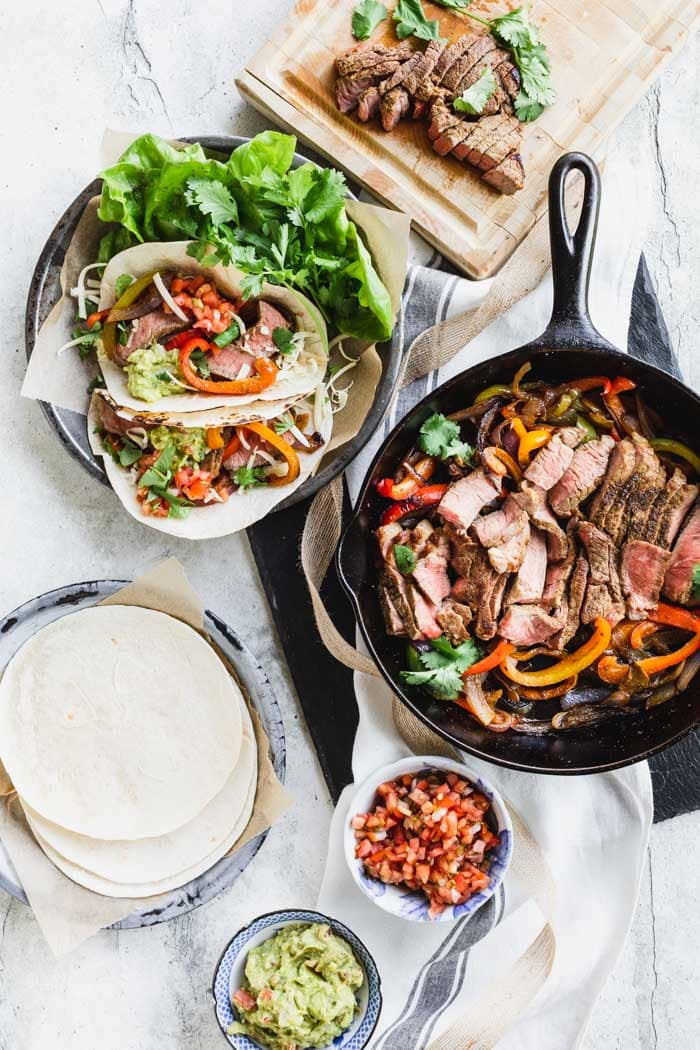Steak Fajitas in a skillet