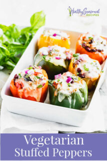 Stuffed peppers with text