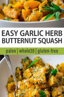 bowl of garlic herb butternut squash