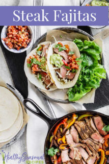 overhead of steak fajitas