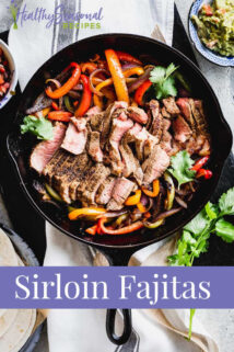closeup of steak fajitas