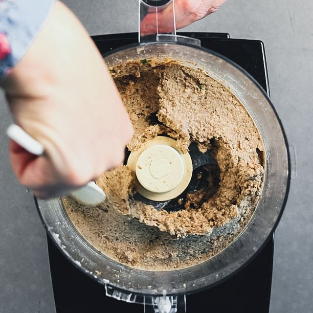 Scrape down the sides of food processor