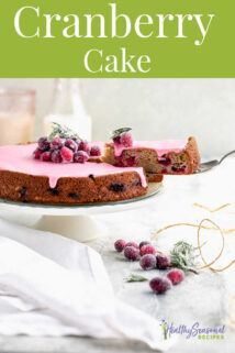 cranberry cake with text overlay