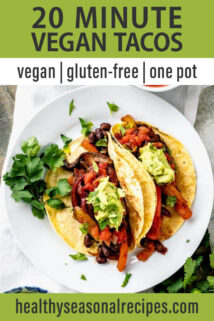 overhead plate of veggie tacos