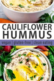 Cauliflower Hummus collage
