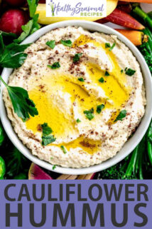 close up bowl cauliflower hummus