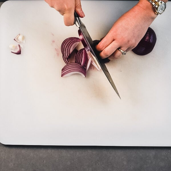 French cut a small red onion