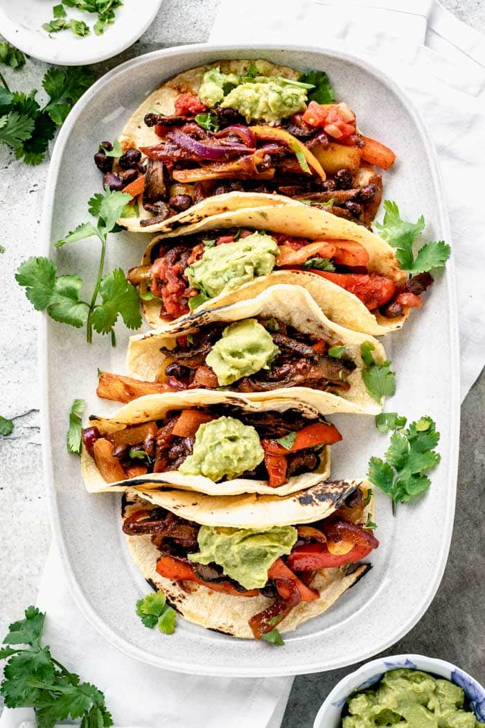 5 Vegan tacos on a platter