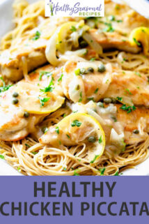 Chicken piccata on a white platter with text overlay