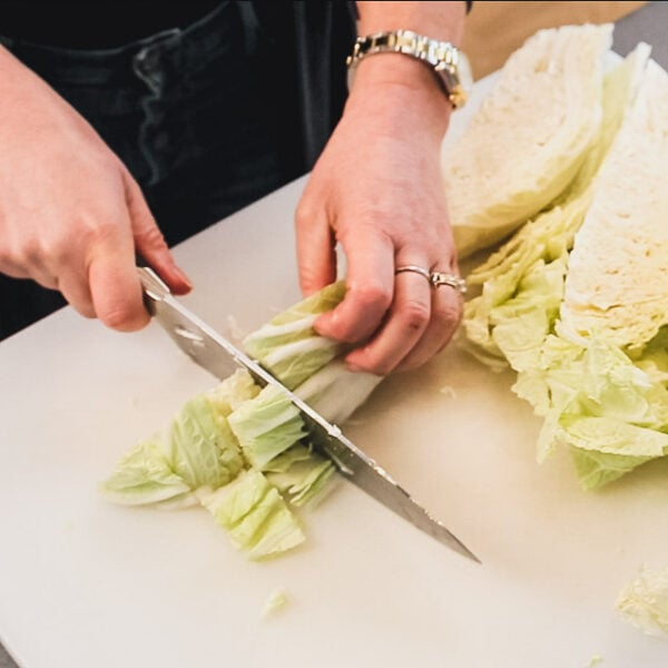 cutting cabbage into squares