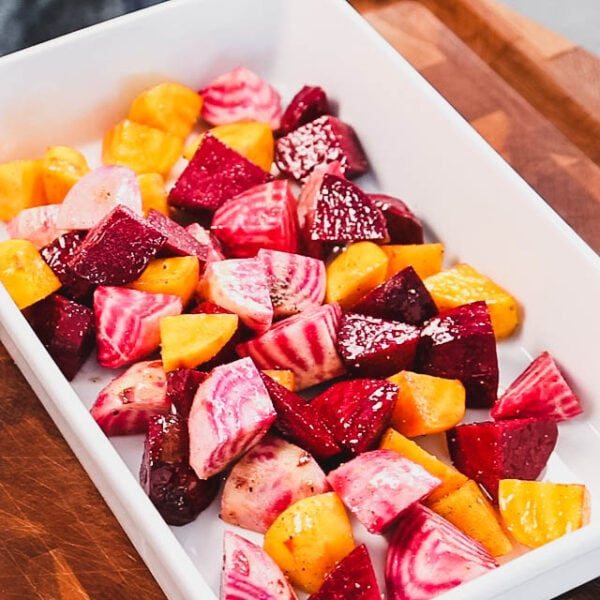 the beet chunks in a casserole dish