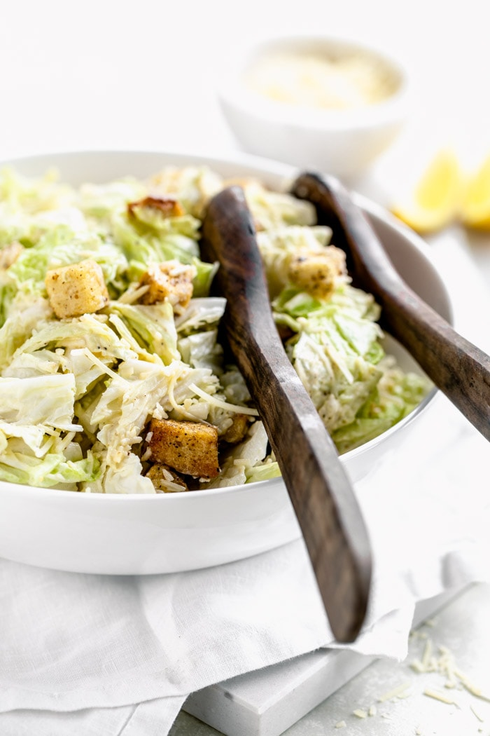 Napa Cabbage Caesar Salad from the side, close up