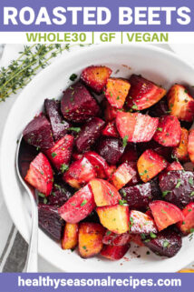 Roasted beets in a white bowl with text overlay