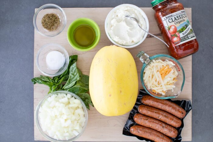 ingredients for stuffed spaghetti squash