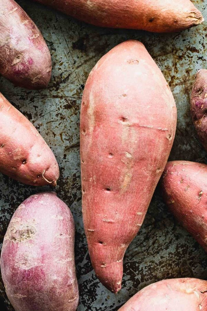 large sweet potato with red skin