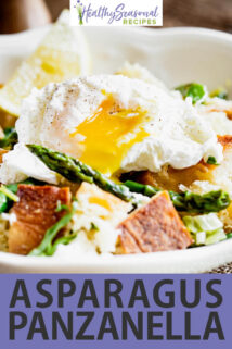 asparagus panzanella with text overlay