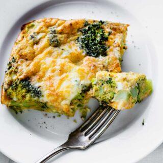 a closeup of a slice of the broccoli bake
