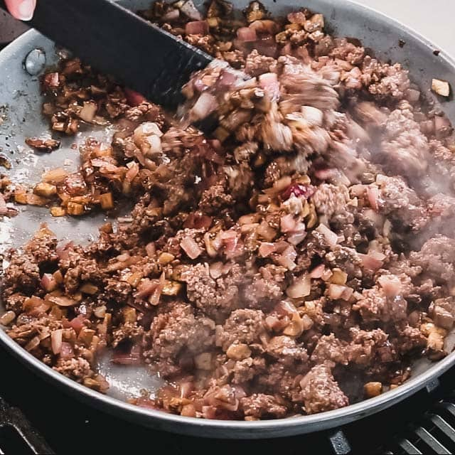 making the burger meat for the burger bowls in a skillet