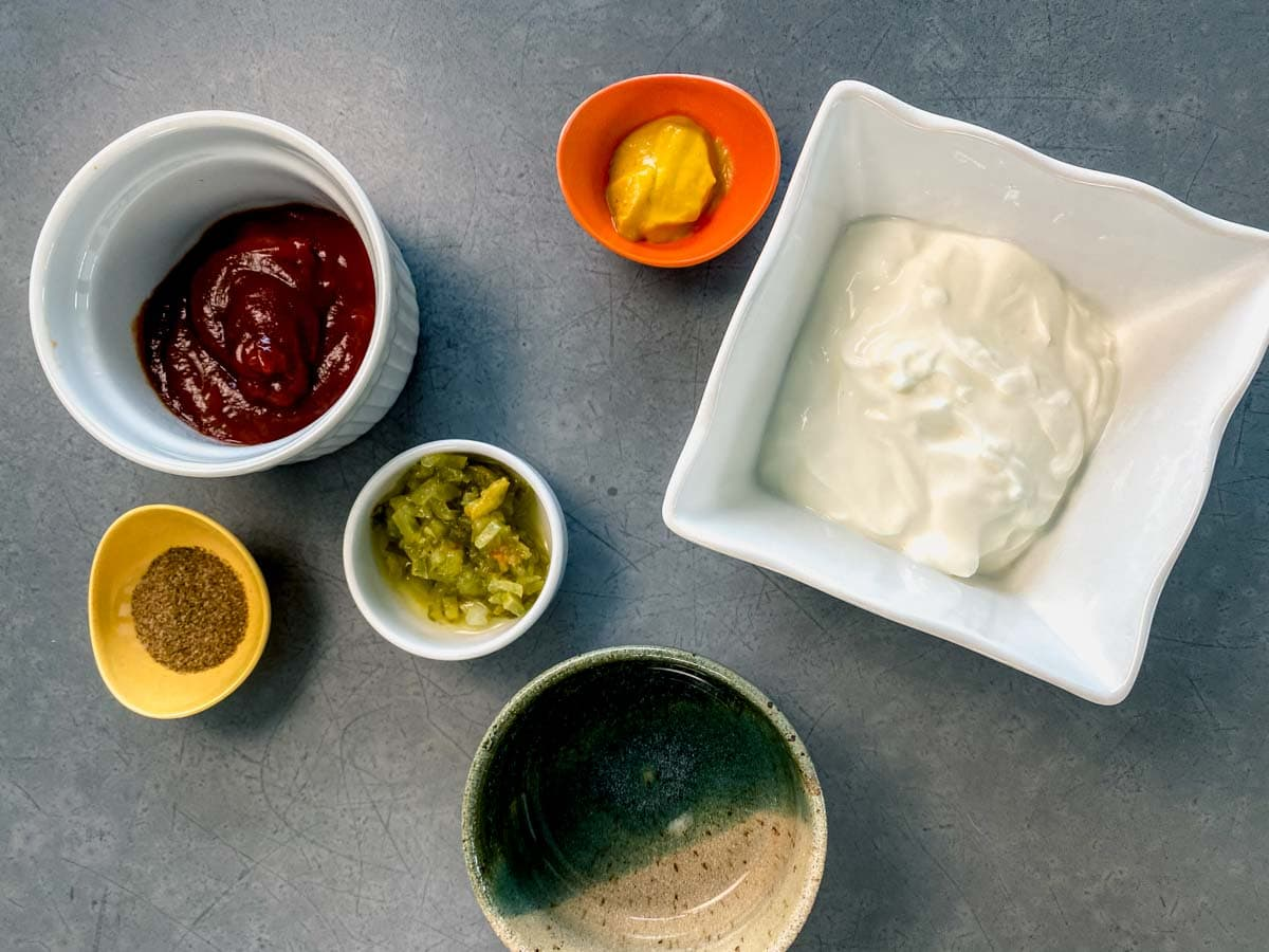 ingredients for the dressing mixture