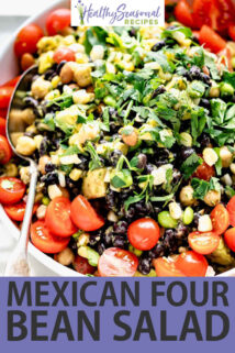 white bowl overhead mexican bean salad with spoon