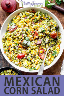 overhead white bowl corn salad with spoon