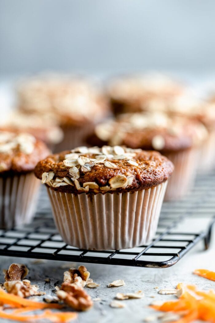 closr-up of muffin from the side on a cooling rack