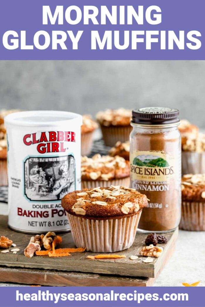 side view of muffins, baking powder and cinnamon with text overlay