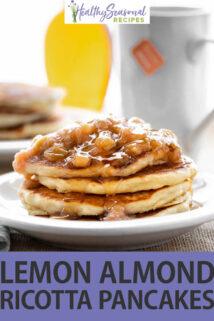 Lemon Almond Ricotta Pancakes text overlay