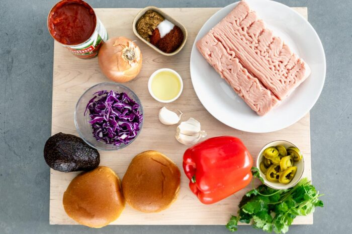 ingredients for the chicken taco sloppy joes