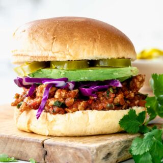 a closeup of the sloppy joe from the side
