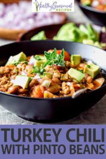 side angle black bowl turkey chili with avocado