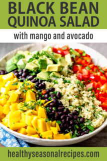 black bean quinoa salad text overlay