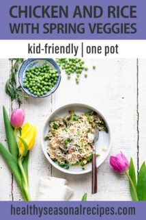 one pot chicken and spring veggies text overlay