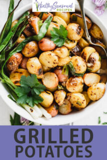 grilled potatoes text overlay
