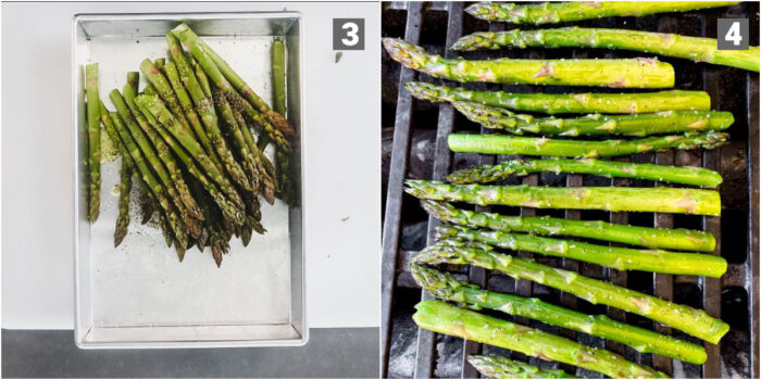 toss asparagus with oil, salt and pepper, grill across the grill grates